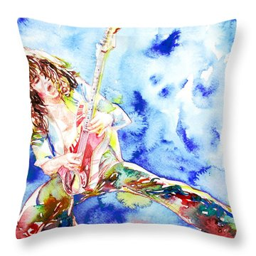 Eddie Van Halen Playing The Guitar.1 Watercolor Portrait Throw Pillow by Fabrizio Cassetta