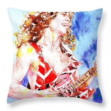 Eddie Van Halen Playing The Guitar.2 Watercolor Portrait Throw Pillow by Fabrizio Cassetta