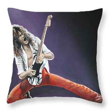 Eddie Van Halen Throw Pillow by Tom Carlton