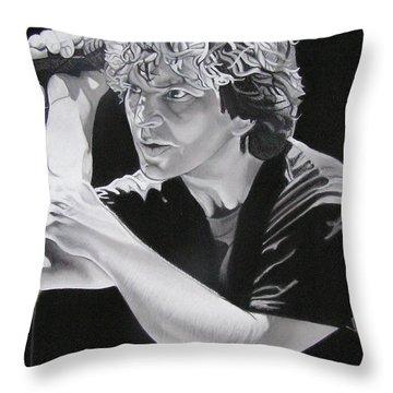 Eddie Vedder Black And White Throw Pillow by Joshua Morton