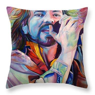 Eddie Vedder In Pink And Blue Throw Pillow