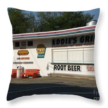 Eddie's Grill Throw Pillow by Michael Krek