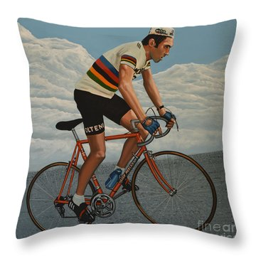 Eddy Merckx Throw Pillow by Paul Meijering