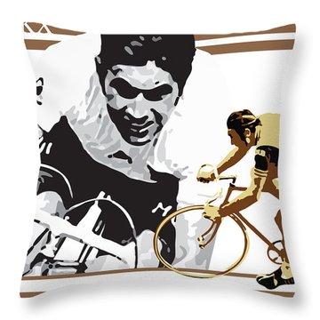 Eddy Merckx Throw Pillow by Sassan Filsoof
