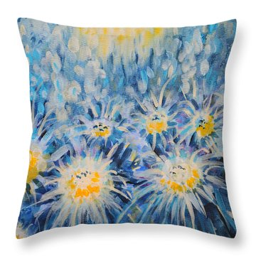 Throw Pillow featuring the painting Edentian Garden by Holly Carmichael