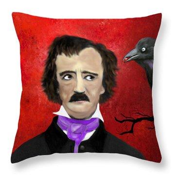 Edgar Allan Poe And The Raven Throw Pillow