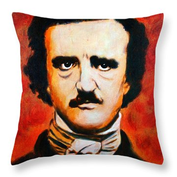 Edgar Allan Poe Throw Pillow by Bob Baker