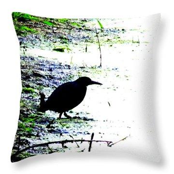 Edgar Allan Poe's Raven On The Edge Of Oblivion By Ron Tackett Throw Pillow
