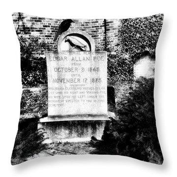 Edgar Allen Poe Grave Site Baltimore Throw Pillow by Bill Cannon