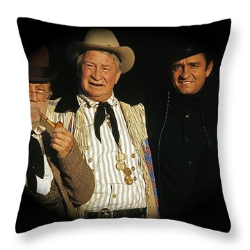 Throw Pillow featuring the photograph Edgar Buchanan Chills Wills  Johnny Cash Porch Old Tucson Arizona 1971-2008 by David Lee Guss