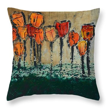 Edgey Tulips Throw Pillow by Linda Bailey