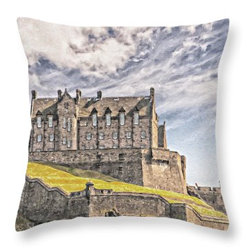 Edinburgh Castle Painting Throw Pillow