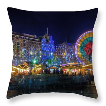 Throw Pillow featuring the photograph Edinburgh Christmas Market by Ross G Strachan