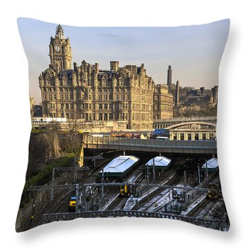 Throw Pillow featuring the photograph Edinburgh Winter Arrival by Ross G Strachan