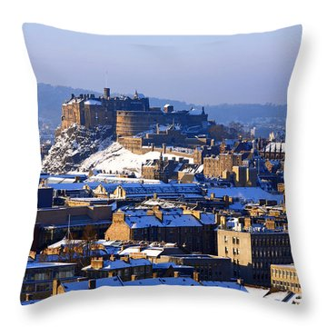 Throw Pillow featuring the photograph Edinburgh Castle Winter by Craig B