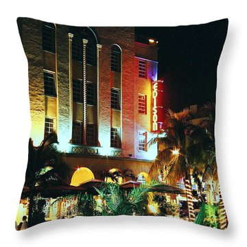 Throw Pillow featuring the photograph Edison Hotel Film Image by Gary Dean Mercer Clark