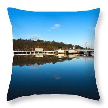 Edmund Rice Bridge Across A River Throw Pillow