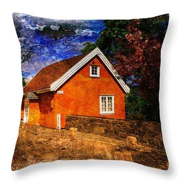 Edvard Munch's House Throw Pillow by Randi Grace Nilsberg
