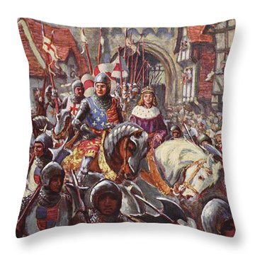 Edward V Rides Into London With Duke Throw Pillow by Charles John de Lacy