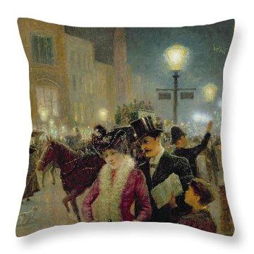 Edwardian London Throw Pillow by Eugene Joseph McSwiney