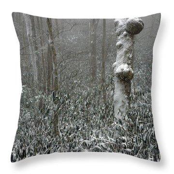 Eerie Forest Winter Throw Pillow by John Haldane