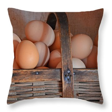 Egg Basket Throw Pillow by Mary Carol Story