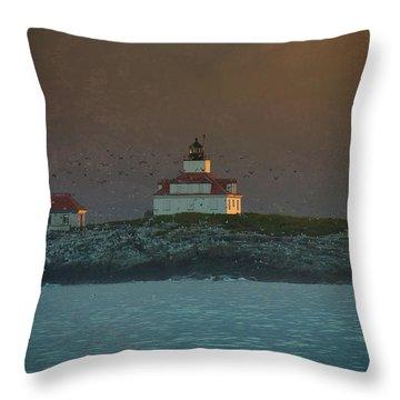 Egg Rock Island Lighthouse Throw Pillow by Sebastian Musial