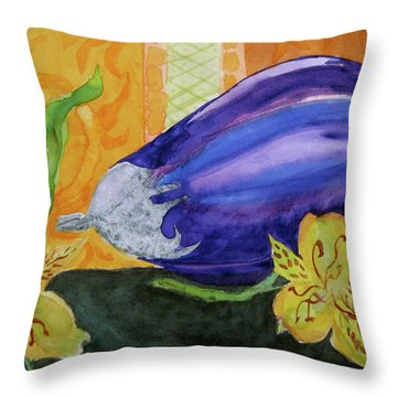Throw Pillow featuring the painting Eggplant And Alstroemeria by Beverley Harper Tinsley
