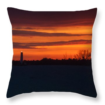 Egmont Key Lighthouse Sunset Throw Pillow