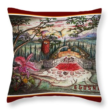 Egosnest Self Portrait With Dinosaurs Throw Pillow