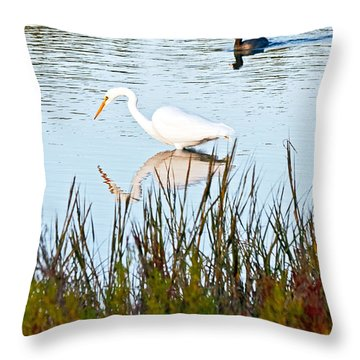 Throw Pillow featuring the photograph Egret And Coot In Autumn by Kate Brown