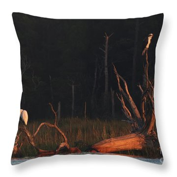 Throw Pillow featuring the photograph Egret And Osprey Sunrise by Deborah Smith