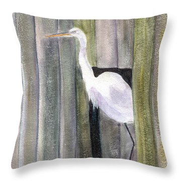 Egret At John's Pass Throw Pillow by Mickey Krause