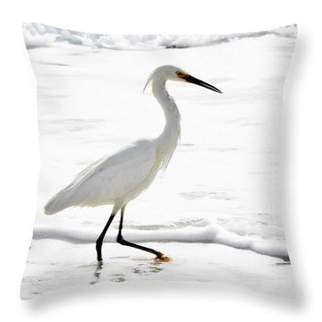 Egret Throw Pillow by Camille Lopez
