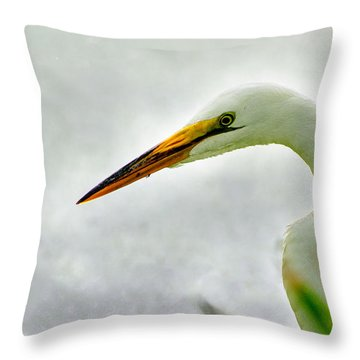 Egret Close-up Throw Pillow