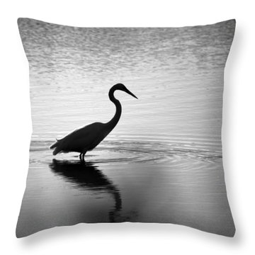 Egret In Bw Throw Pillow