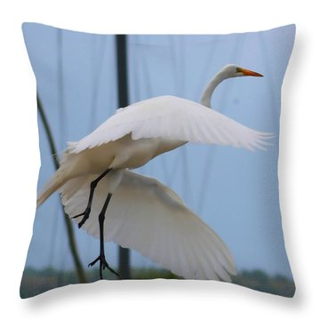 Egret In Flight Throw Pillow by Debra Forand
