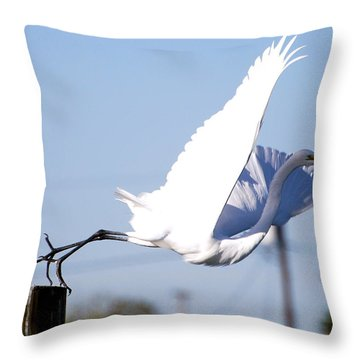 Throw Pillow featuring the photograph Egret In Flight by Linda Cox