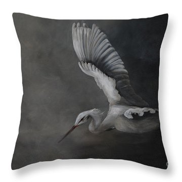Throw Pillow featuring the painting Egret In Flight by Nancy Bradley