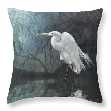 Egret In Moonlight Throw Pillow