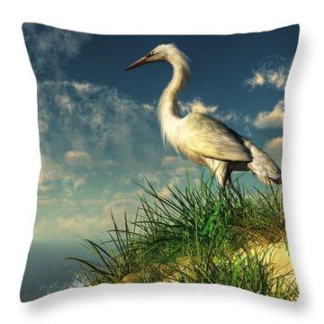Egret In The Dunes Throw Pillow by Daniel Eskridge