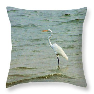 Egret In The Shallows Throw Pillow