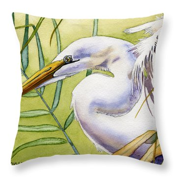 Egret Throw Pillow by Lyse Anthony