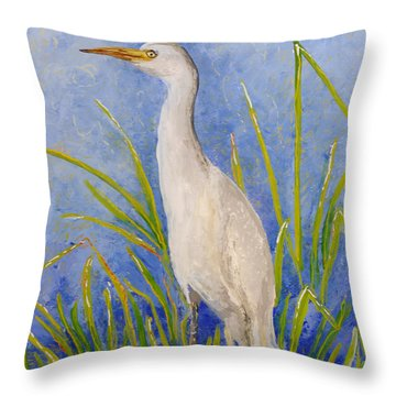 Throw Pillow featuring the painting Egret Morning by Anna Skaradzinska