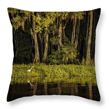 Egret On Caddo Lake Throw Pillow