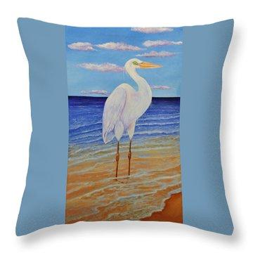 Eager Egret  Throw Pillow
