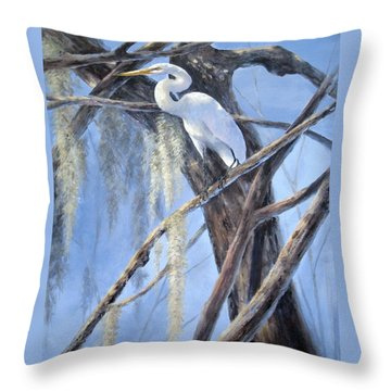 Egret Perch Throw Pillow