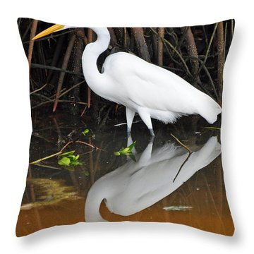 Egret Reflected In Orange Waters Throw Pillow