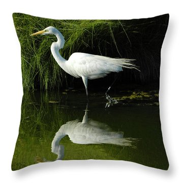 Egret Reflections Throw Pillow by Lara Ellis