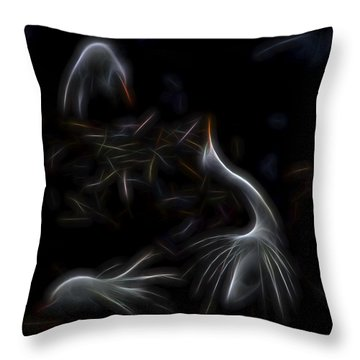 Throw Pillow featuring the digital art Egret Rookery 1 by William Horden